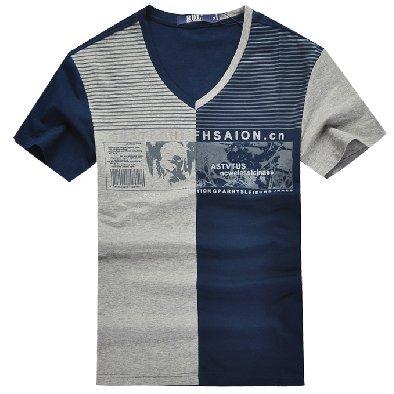 时尚男士修身V领短袖T恤定制