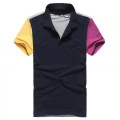 宝蓝色男款时尚T恤衫 珠地网眼布纯棉